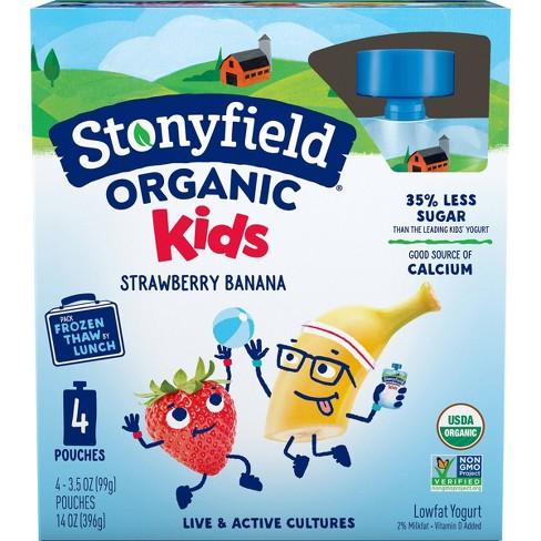 Stonyfield Organic Kids Strawberry Banana Kids' Yogurt Pouches - 4pk/3.7oz - image 1 of 4