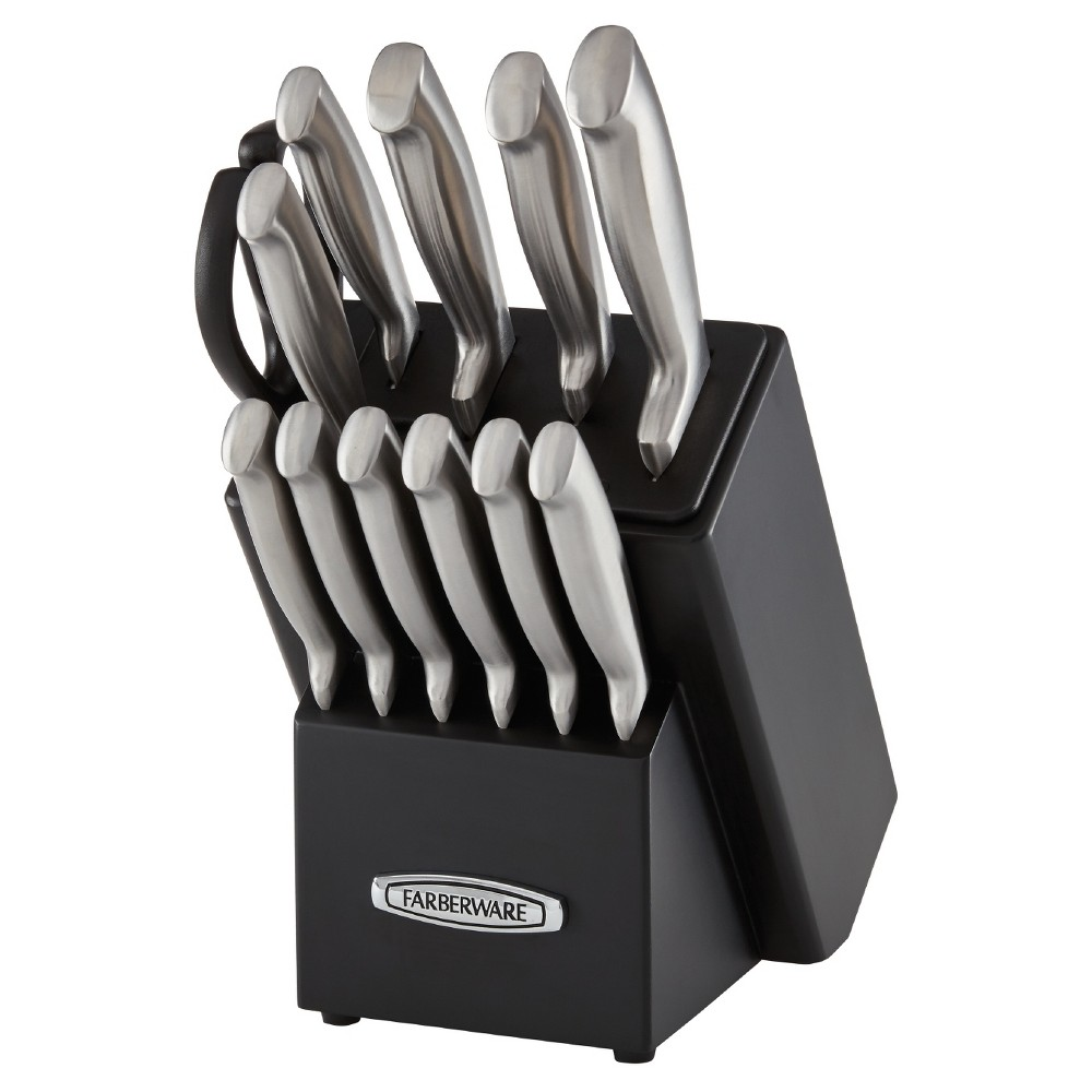 Image of Farberware 13pc Self Sharpening Edgekeeper Pro Forged Stainless Steel Cutlery Set, Silver Black