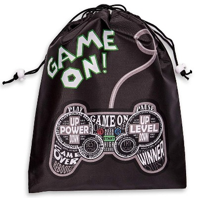 12-Pack Drawstring Party Favor Bags, Video Gamer Supplies, Game On Design, 9.5 X 12 inches