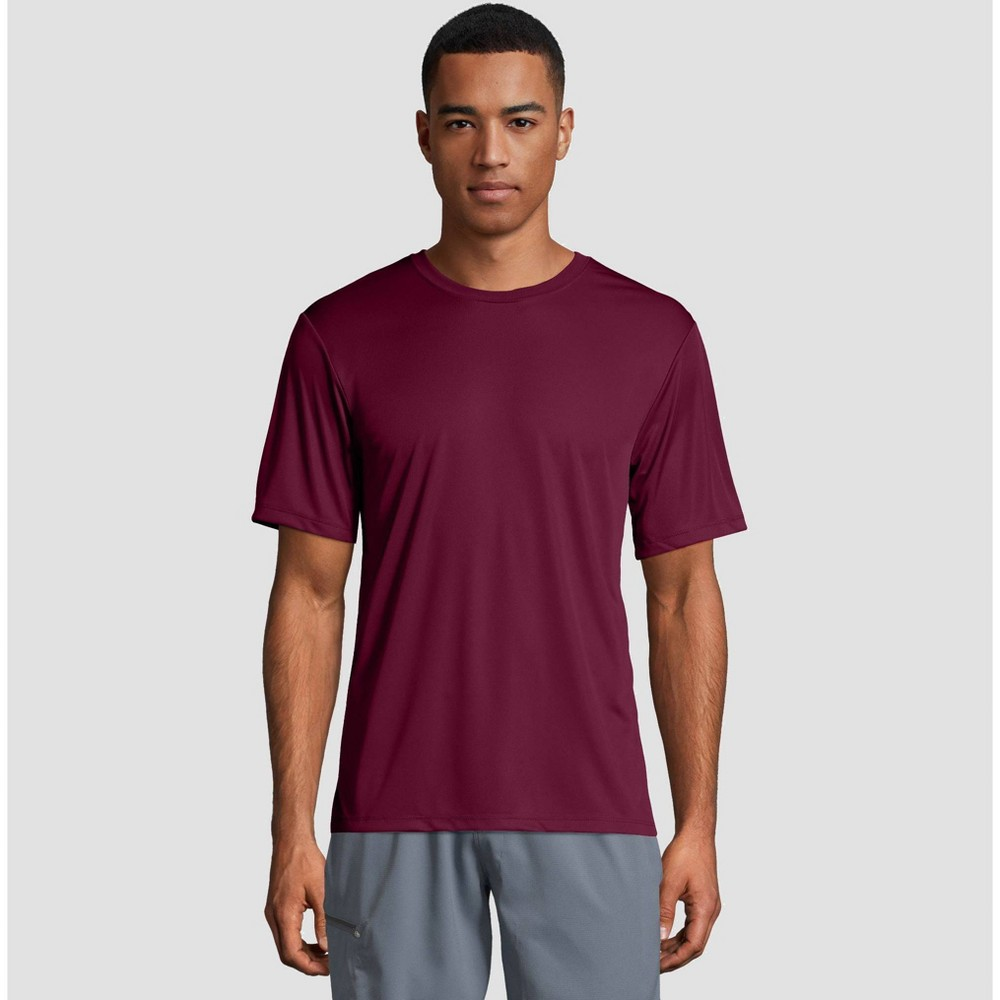 Image of petiteHanes Men's Short Sleeve CoolDRI Performance T-Shirt -Maroon M, Size: Medium, Red