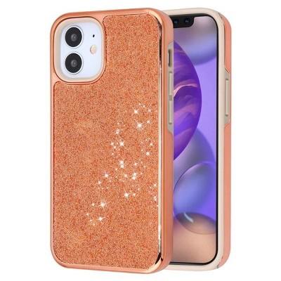 "Asmyna Encrusted Rhinestones Hybrid Hard Electroplated TPU Case For Apple iPhone 12 Mini (5.4"") - Rose Gold"