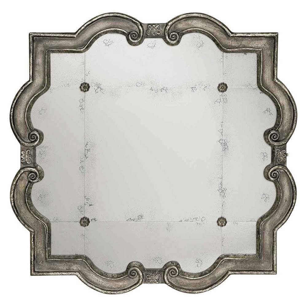 Image of Scalloped Prisca Distressed Decorative Wall Mirror Silver - Uttermost