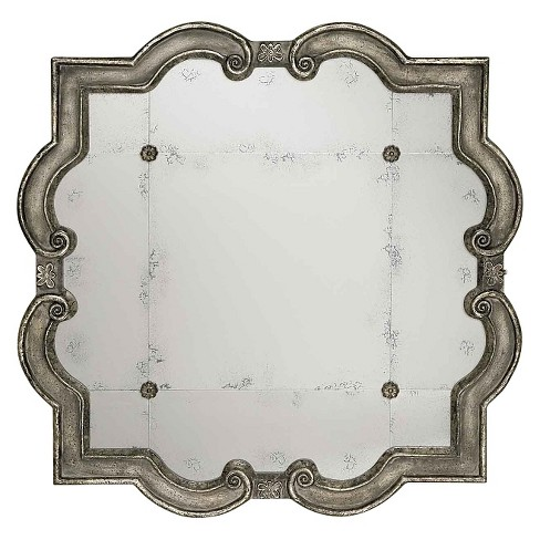 Scalloped Prisca Distressed Decorative Wall Mirror Silver - Uttermost - image 1 of 1