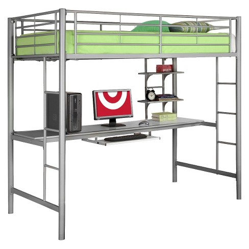 Kids Workstation Bunk Bed - Twin - Metal - Saracina Home - image 1 of 3