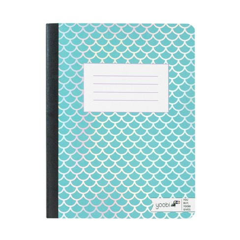 "Composition Notebook 7.5"" x 9.8"" College Ruled Blue Mermaid Scales - Yoobi™ - image 1 of 1"