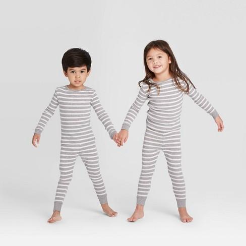 Toddler Striped 100% Cotton Tight Fit Matching Pajama Set - Gray - image 1 of 3