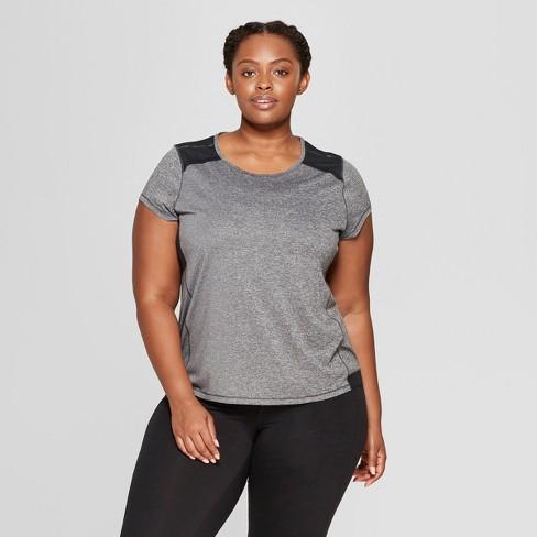 307fc1dead559 Women s Plus Size Short Sleeve Run T-Shirt - C9 Champion® Gray 3X ...