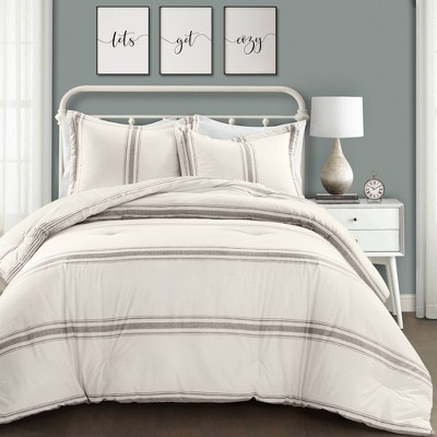 Full/Queen 3pc Farmhouse Stripe Comforter Set Gray - Lush Décor