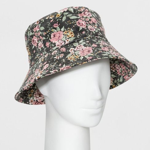 a46b74874 Women's Oversized Washed Floral Bucket Hat - Wild Fable™ Black