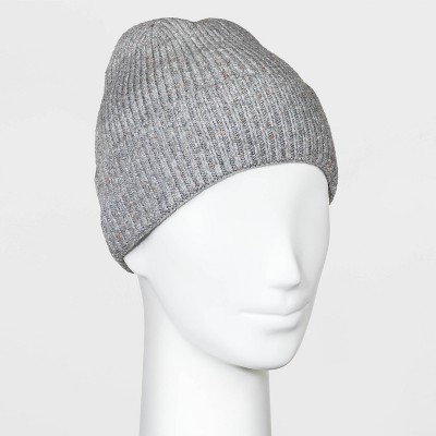 Women's Striped Knit Beanie - Universal Thread™ Gray One Size