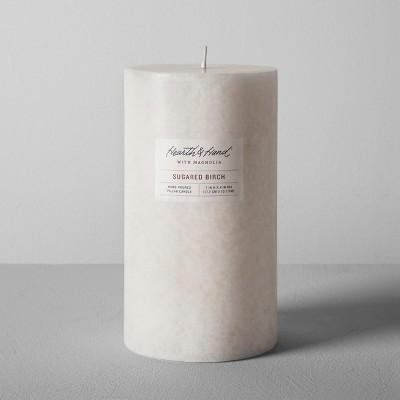 Pillar Candle (4 x7 )- Sugared Birch - Hearth & Hand™ with Magnolia