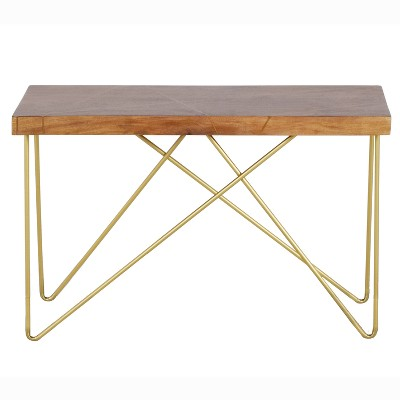 Walter Sofa Table Mango Wood Top with Brass Inlay and Base - Steve Silver