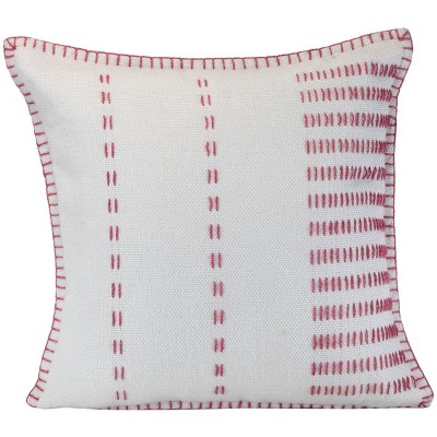 """Pink Stitch Pattern Hand Woven 18x18"""" Outdoor Decorative Throw Pillow with Whip Stitch Edges - Foreside Home & Garden"""