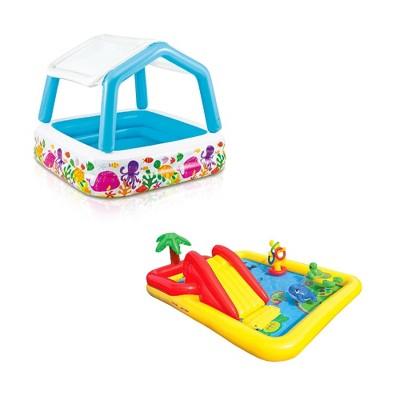 Intex Ocean Scene Kiddie Pool With Shade Canopy & Ocean Play Kiddie Pool & Games