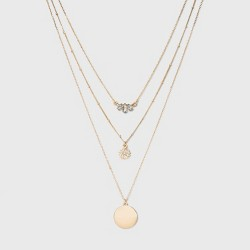 SUGARFIX by BaubleBar Embellished Layered Pendant Necklace - Gold