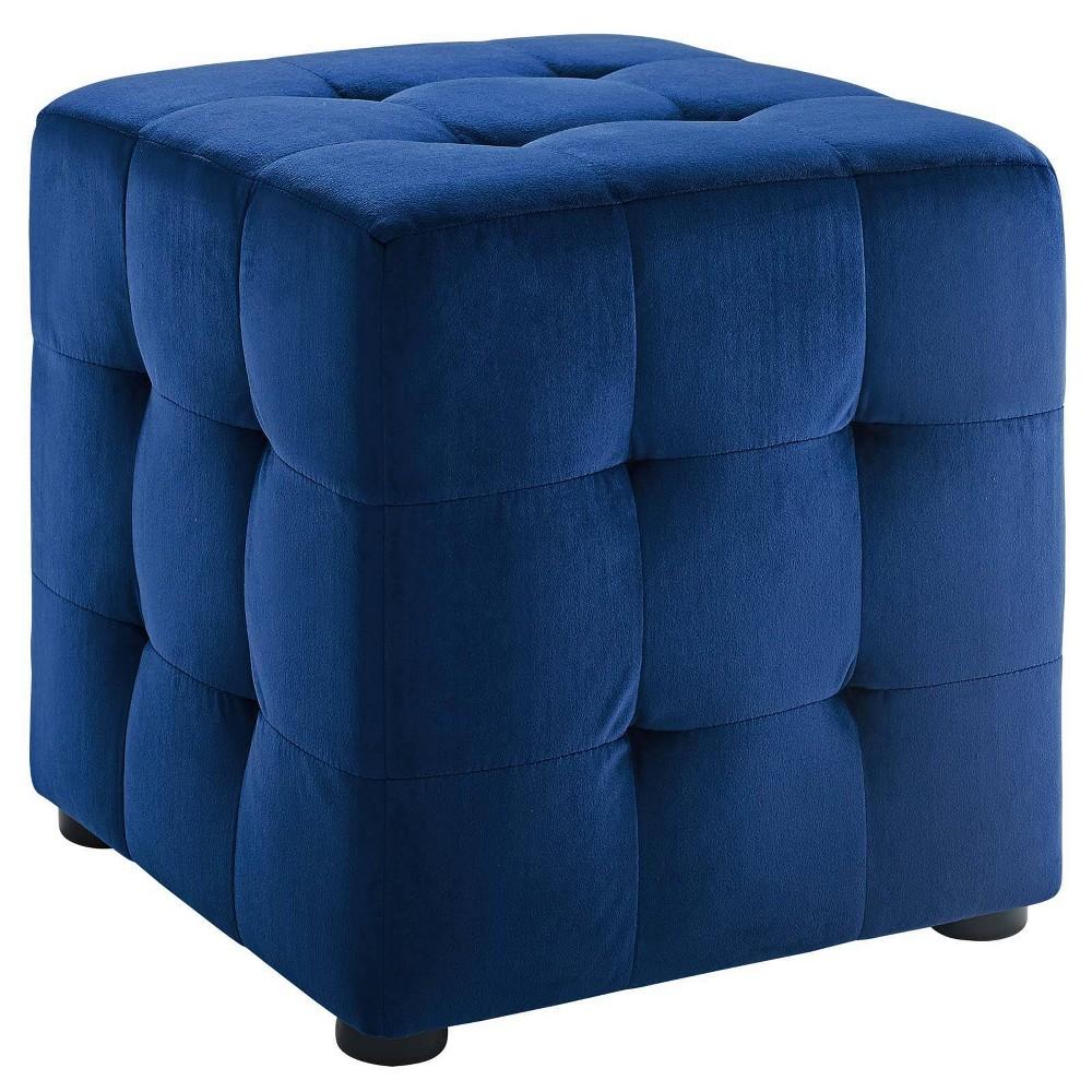 Image of Contour Cube Velvet Ottoman Navy - Modway, Blue