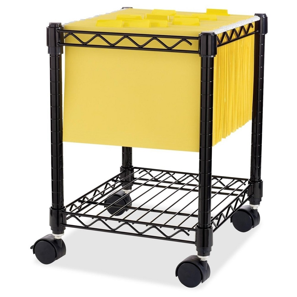Image of Lorell Vertical Filing Cabinet Mobile Cart Wire Compact Metal - Black