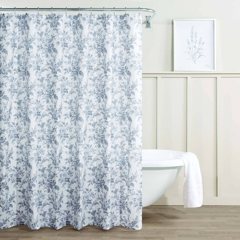 Annalise Fl Shower Curtain Gray, Shower Curtains Gray And Blue