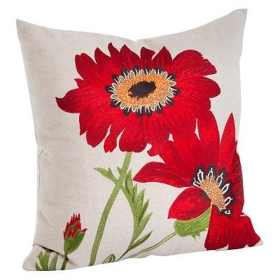 """18""""x18"""" Embroidered Flower Throw Pillow - Saro Lifestyle"""