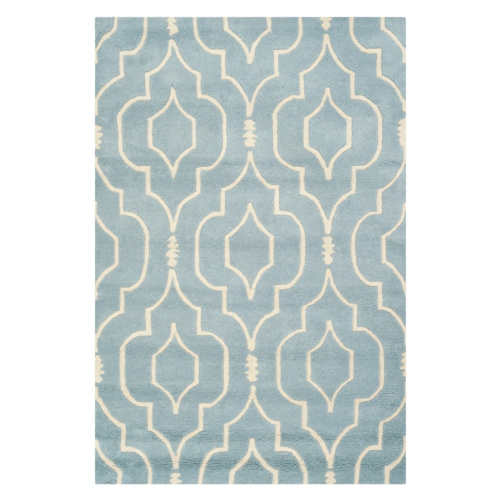 3'X5' Geometric Tufted Accent Rug Blue/Ivory - Safavieh
