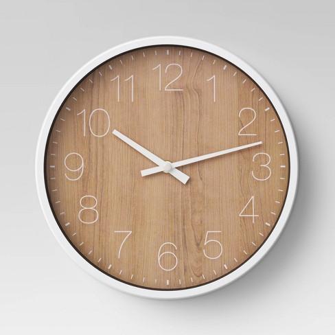 "10"" Round Wall Clock Walnut Finish - Project 62™ - image 1 of 2"