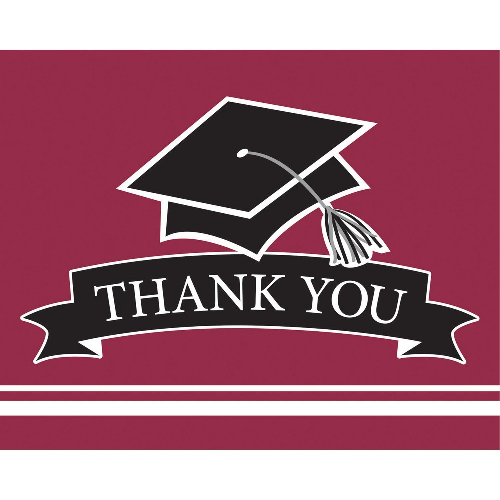 Image of 25ct Burgundy Graduation School Thank You Notes, Red