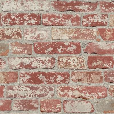 RoomMates Stuccoed Brick Peel And Stick Wallpaper Dark Red