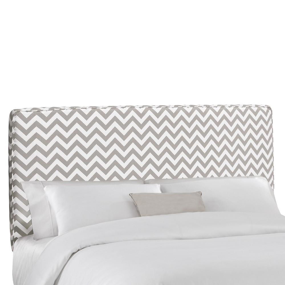 Zig Zag Upholstered Headboard - Ash-White - King - Skyline Furniture