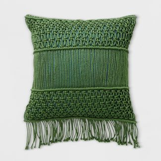 Macrame Two Tone Outdoor Pillow Green - Opalhouse™