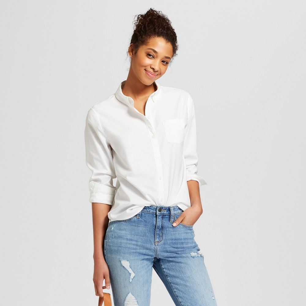 Women's Long Sleeve Camden Button-Down Shirt - Universal Thread White M