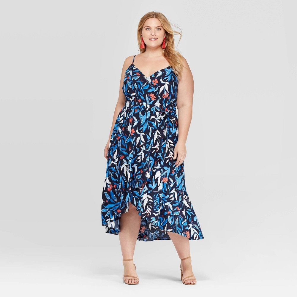 520fba37cfa5 Womens Plus Size Floral Print Sleeveless V Neck Ruffle Wrap Dress Ava Viv  Navy 2X Blue