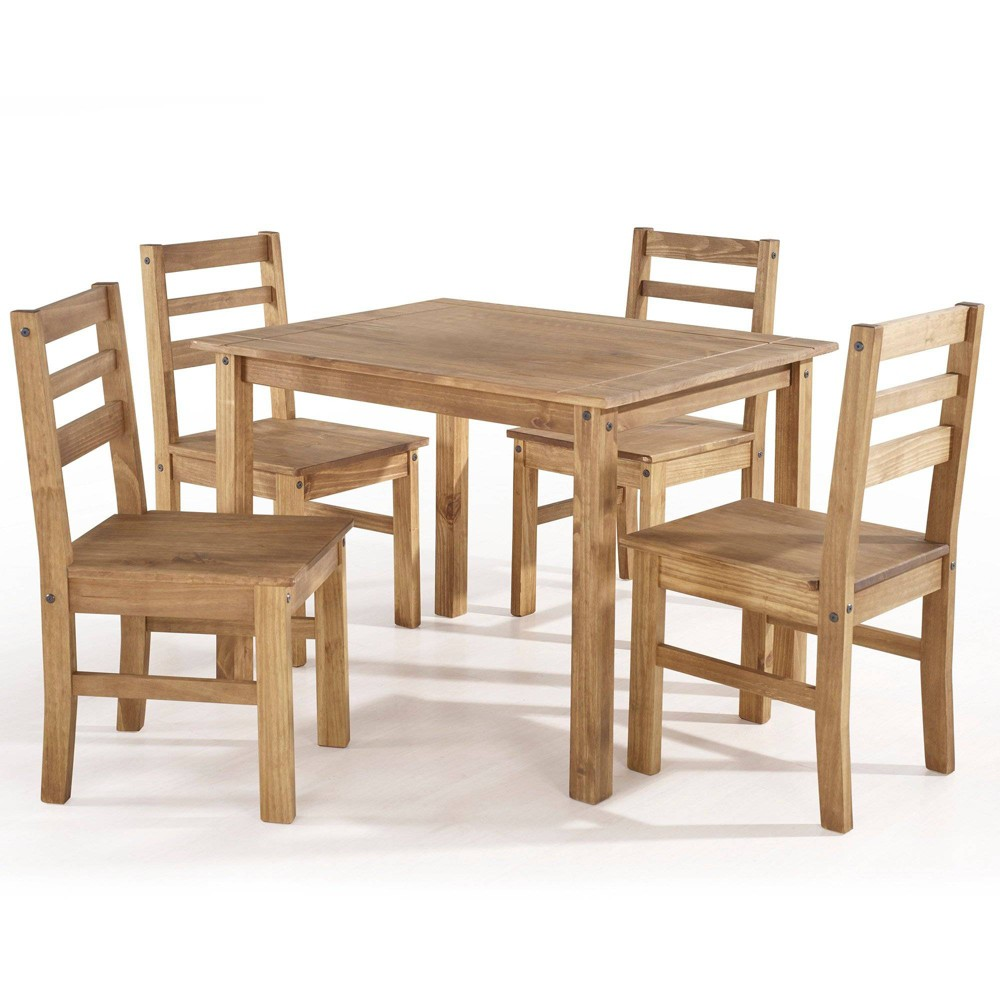 5pc Maiden Solid Wood Dining Set Natural - Manhattan Comfort