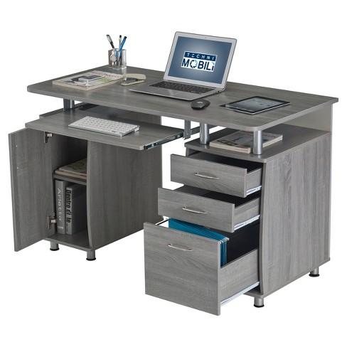 Complete Workstation Computer Desk With Storage Gray Techni