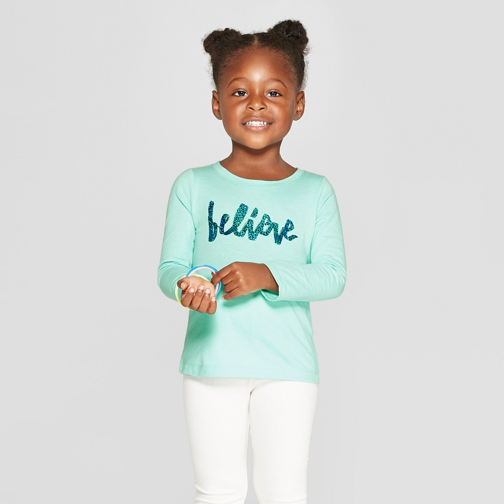 Toddler Girls' Long Sleeve 'Believe' Graphic T-Shirt - Cat & Jack Aqua 12M, Green