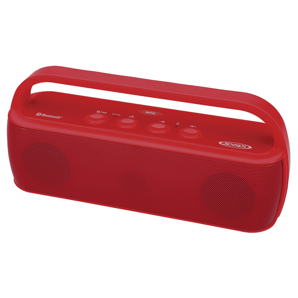 Jensen Portable Bluetooth Wireless Stereo Rechargeable Speaker - Red (Smps-627-R) Bring the party with you wherever you go with a Jensen Portable Bluetooth Wireless Stereo Rechargeable Speaker. This handy portable speaker uses Bluetooth technology to wirelessly play your favorite tunes from your mobile devices. The compact design and rechargeable battery means the party never has to end. Color: Red.