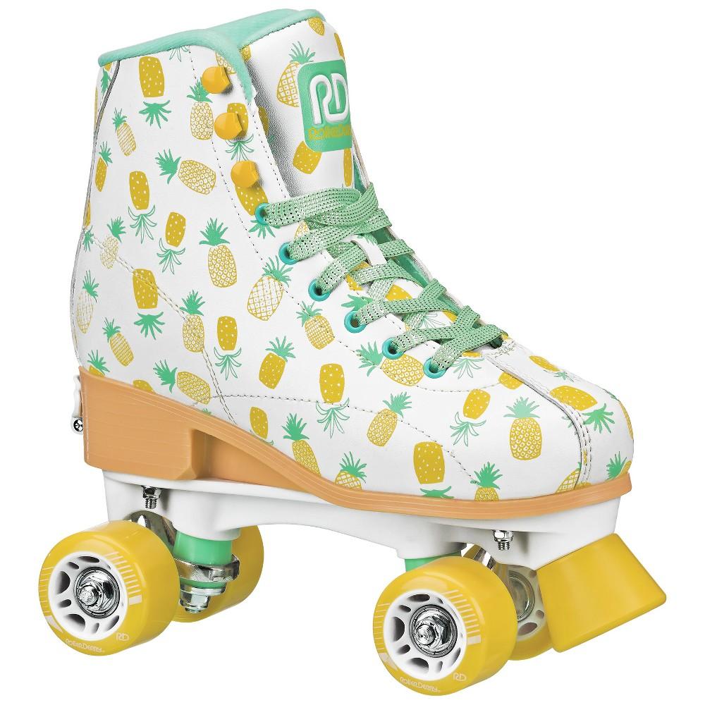 Roller Derby Pineapple Kids' Adjustable Roller Skate - White M, Girl's, Yellow White