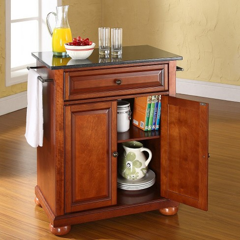Alexandria Solid Black Granite Top Portable Kitchen Island Wood Clic Cherry Finish Crosley Target