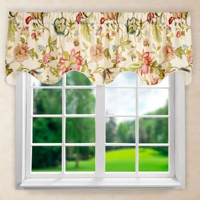 "Ellis Curtain Brissac High Quality Room Darkening Solid Natural Color Lined Scallop Window Valance - (70""x17"")"