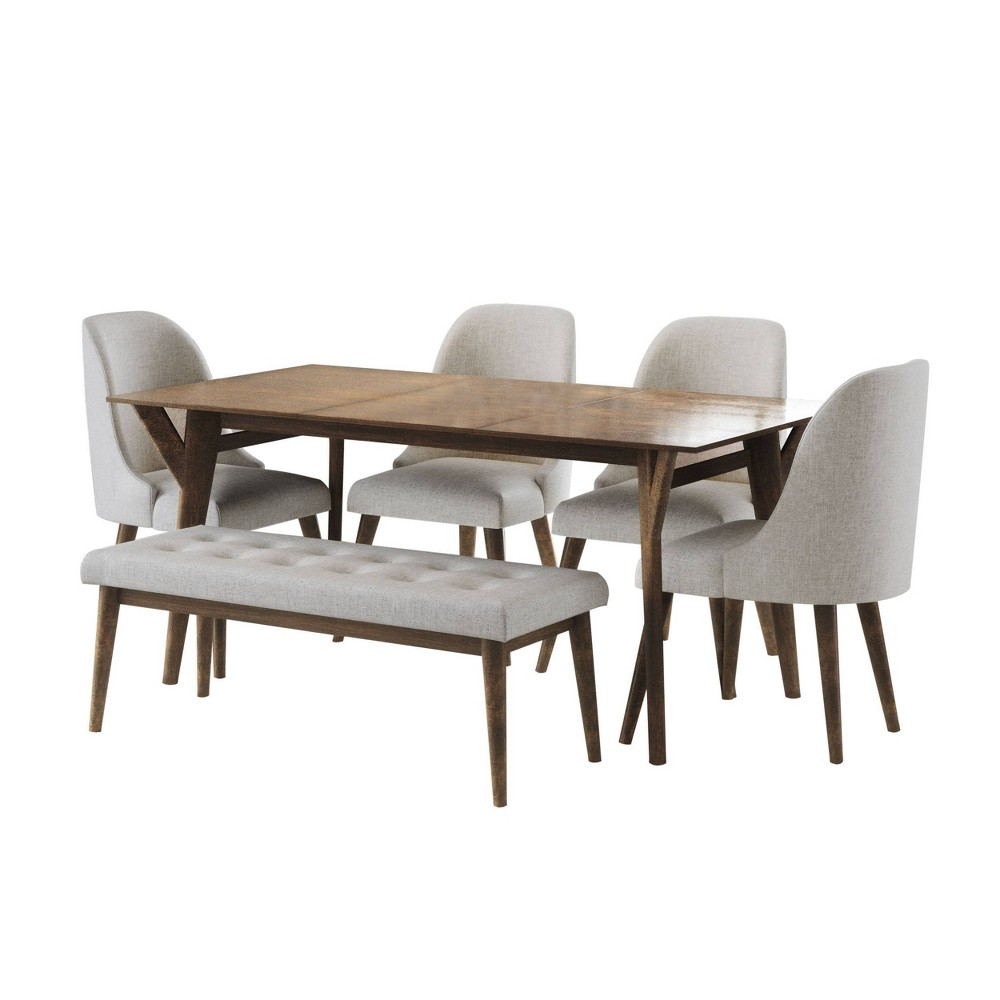 Image of 6pc Aurora Mid Century Wooden Dining Set Brown - Abbyson Living