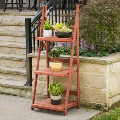 Rectangular 3 Tier A-frame Plant Stand - Brown - Leisure Season