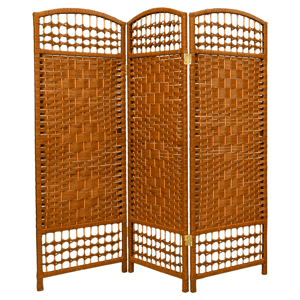 Image of 4 ft. Tall Fiber Weave Room Divider - Dark Beige (3 Panels) - Oriental Furniture, Medium Beige