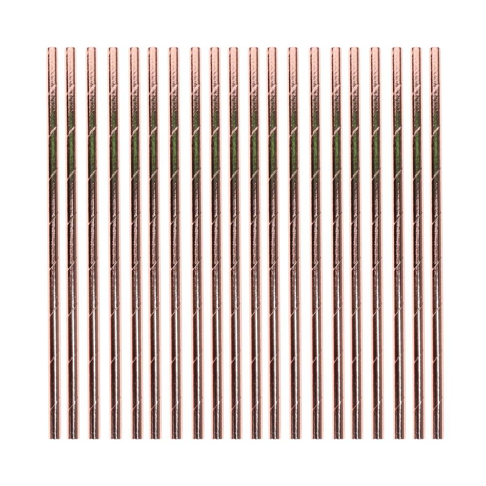 20ct Paper Straws Rose Gold Spritz 8482
