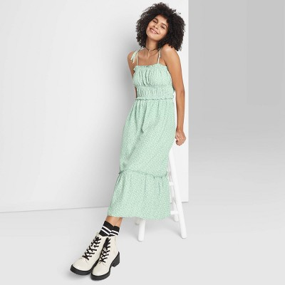 Women's Tie-Strap Ruffle Hem Woven Dress - Wild Fable™