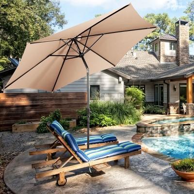 Costway 10FT Patio Umbrella 6 Ribs Market Steel Tilt W/Crank Outdoor Garden Beige