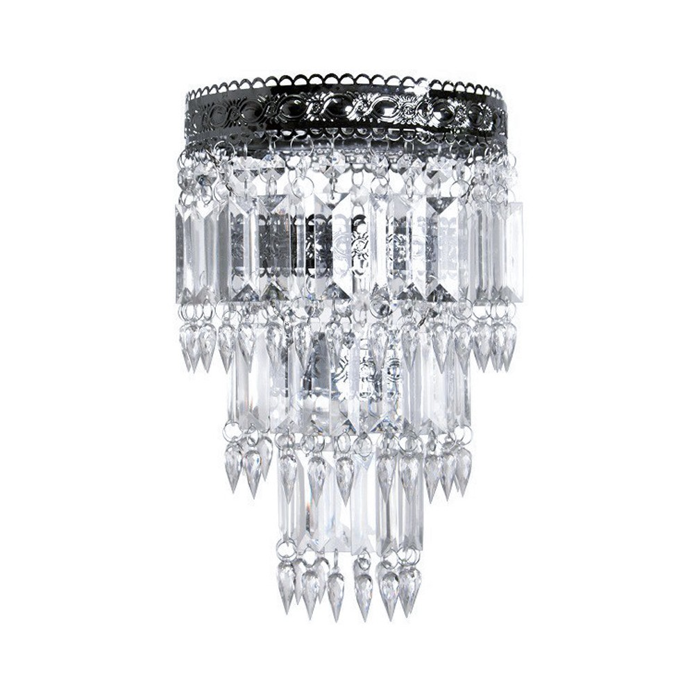 Tadpoles Faux - Crystal & Chrome Queen's Crown Pendant Light Shade, Small, Chandelier Style, Clear