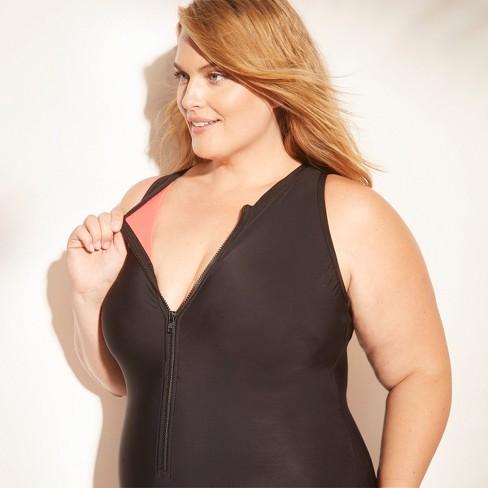 4cf1620ee4f Women s Plus Size Zip-Up One Piece Swimsuit - Aqua Green®   Target