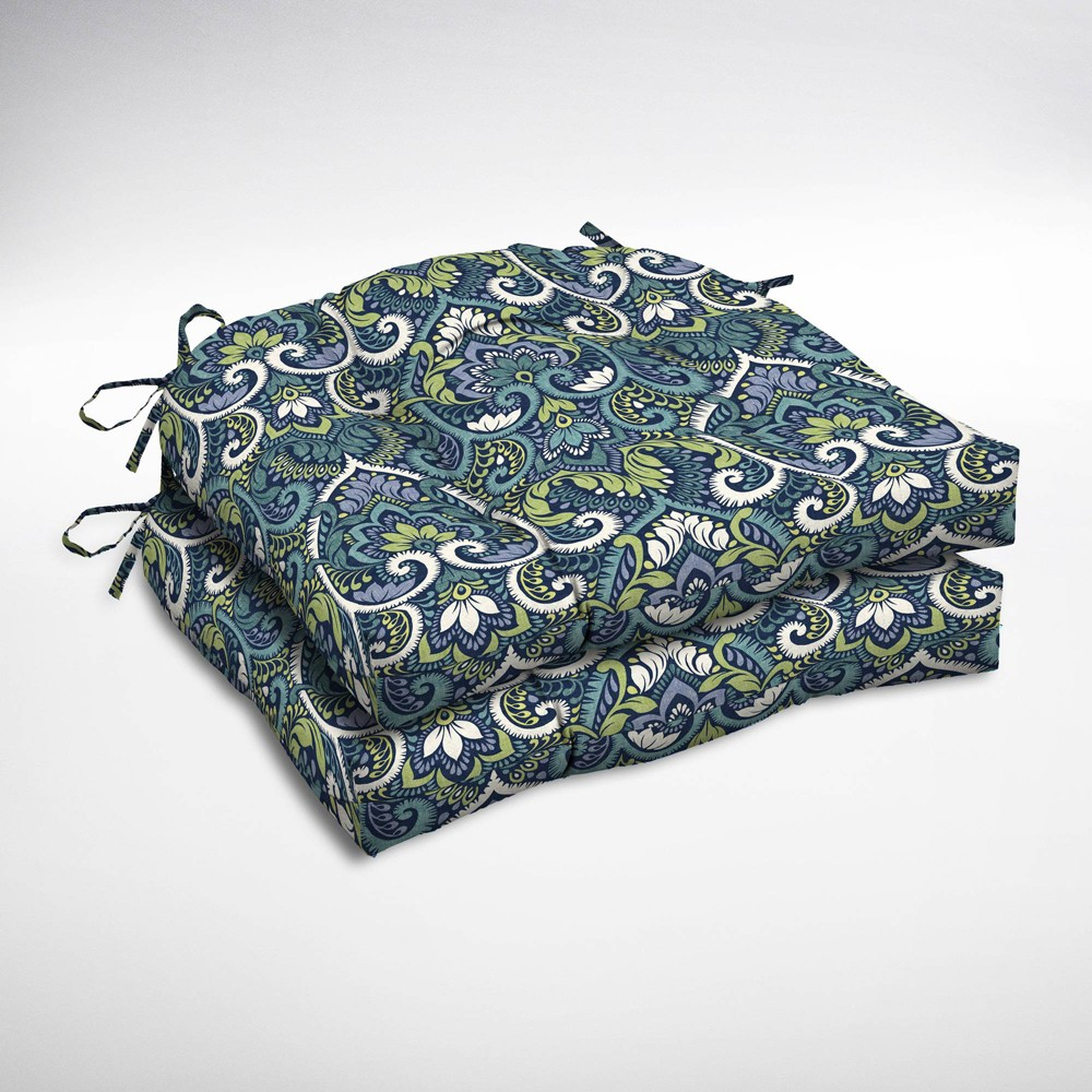 Image of 2pk Aurora Damask Wicker Chair Cushions Sapphire (Blue) - Arden Selections