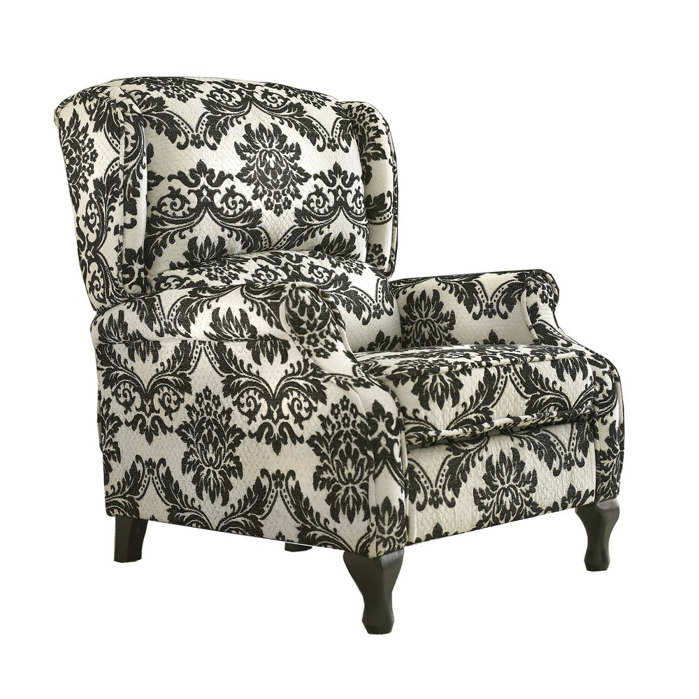 Upholstered Wing Recliner Black/Cream - Buylateral, Black Cream Print