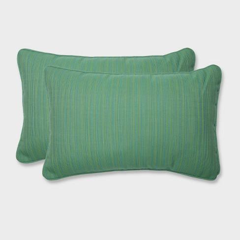 2pk Dupione Paradise Rectangular Throw Pillows Green - Pillow Perfect - image 1 of 2