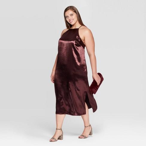 Women's Plus Size Sleeveless Halter Neck Satin Midi Dress - A New Day™ Dark Red - image 1 of 3